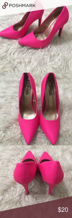 Hot Pink heels. Party up hot pink heels, or can be dressed with classy attire as a pop color. Never Worn Charlotte Russe Shoes Heels