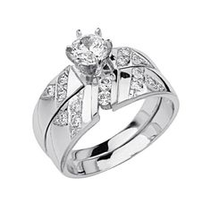 .925 Sterling Silver CZ Ribbed Channel Set Ladies Wedding Wedding Engagement Ring and Matching Band 2 Pieces Set - Size 7 The World Jewelry Center,http://www.amazon.com/dp/B007AKEYL4/ref=cm_sw_r_pi_dp_gyeHtb03X7Y40CBZ