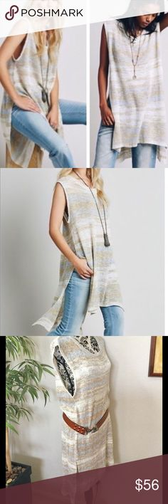 """Free People sleeveless linen blend sweater tunic Loose knit cotton linen blend sleeveless tunic in natural shades of cream, beige & light blue. Cool in spring, layer over a turtleneck for cooler season wear. Measurements laying flat: armpit to armpit 20"""", front length 39"""", back length 42"""". Excellent condition! Free People Tops Tunics"""