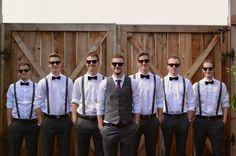 Gray. Groom wears similar bridesmaids color and vest. Groomsmen wear black ties, gray suspenders, gray pant, white shirt