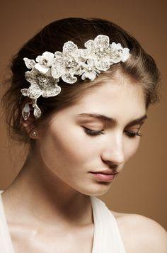Boho chic bridal fascinator by Jenny Packham