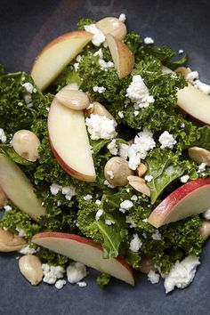 Torn kale salad with marcona almonds, honey crisp apple, feta cheese, lemon vinaigrette at Cedar + Stone, JW Marriott Minneapolis Mall of America