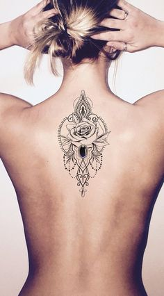 Traditional Rose Chandelier Back Ideas for Women – Geometric Flower Spine Tat – volver ideas del tatuaje para las mujeres – wwwMyBodiArtcom The post Manya Tribal Boho Rose Jewelry Chandelier Temporary appeared first on Best Pins for Yours - Tattoo Band Tattoos, Foot Tattoos, Body Art Tattoos, Sleeve Tattoos, Small Tattoos, Flower Tattoos, Tattoo Son, Lady Bug Tattoo, Jesus Tattoo