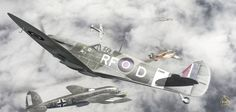 Some Heinkel He-111s of the 3./KG55, under the protection of Me-109s of the famous JG53, return into the safety of the French skies after yet another mission over England on Summer 1940, leaving th...