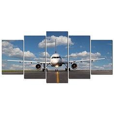 Pyradecor Modern 5 Panel Stretched and Framed Landscape Skyline Artwork Giclee Canvas Prints Airplane Pictures Paintings on Canvas Wall Art Ready to Hang for Living Room Bedroom Home Decorations * Learn more by visiting the image link. (This is an affiliate link)