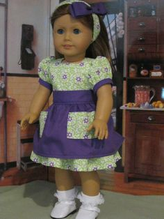 "Spring Dress and Apron for Grace, Kit,Mollly Fits 18"" American Girl Doll Clothes #Handmade #DollClothes"