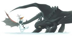 Toothless and Olaf - just need to add in Meeko and all of our Disney cars are in one picture!!