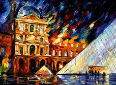"""Louvre museum - PALETTE KNIFE Oil Painting On Canvas By Leonid Afremov - Size 40"""" x 30"""""""