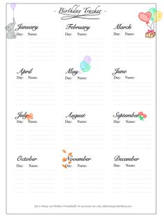 FREE bullet journal printables and PDF templates to help you organize your planner. Each bullet journal printable is filled with colorful images and flowers to add a touch of feminity to your planner. Bullet Journal Tracker Ideas, Free Bullet Journal Printables, Bullet Journal Birthday Tracker, Bullet Journal Page, Journal Template, Bullet Journal Junkies, Journal Pages, Planner Pages, Printable Planner