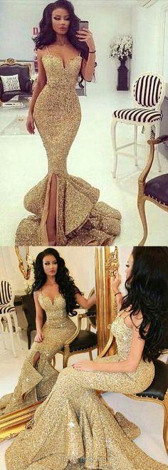 Gold Prom Dresses Trumpet/Mermaid, Long Prom Dresses V-neck 2018, Sequined Prom Dresses With Split Front Modest