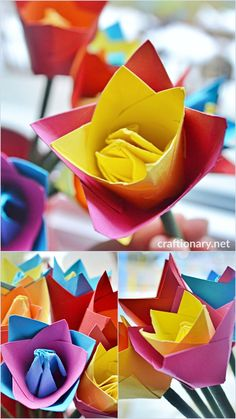 Origami tulip flower craft - Make stunning paper flowers - Craftionary . Nylon Flowers, Tulips Flowers, Colours That Go Together, Construction Paper Crafts, How To Make Paper Flowers, How To Make Origami, Burlap Flowers, Paper Straws, Flower Tutorial