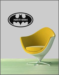 "Kids Room BATMAN (Personalized with Name) Vinyl Wall Art Decal 22"" x 12.75"". $23.95, via Etsy."