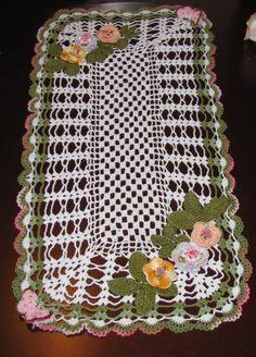 This new oval crochet doily is handmade and measures approximately 21x12includes decorative pretty butterflies and flowers. This item is handmade