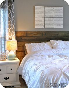 Blue Clear Sky: Mantel Headboard or Rustic Plank Headboard. Curtains are adorable! Mantel Headboard, Reclaimed Headboard, Headboard Art, Home Bedroom, Bedroom Decor, Bedrooms, Design Bedroom, Bedroom Inspo, Master Bedroom