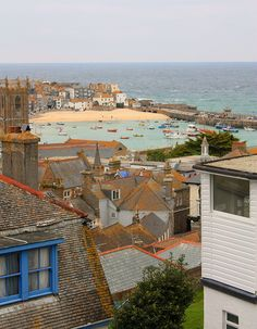 View over St Ives from the top. Cornwall, you can see this image so often in the various artists work, harbour, boats. St Ives Cornwall, Devon And Cornwall, Cornwall Coast, British Seaside, British Isles, Great Places, Beautiful Places, Places To Travel, Places To Visit