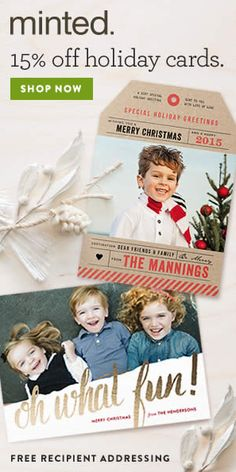 Enjoy 15% off + FREE recipient addressing on ALL Holiday Cards at @minted when you use the code: HAPPYHOL15 at checkout! Offer expires tonight at 11:59 pm - Monday, 11/25. Click through for details.