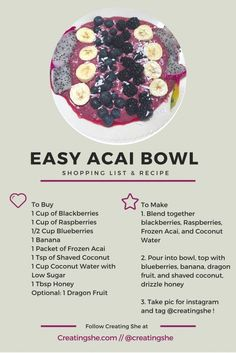 Make a super tasty, super easy acai bowl with this shopping list and recipe!