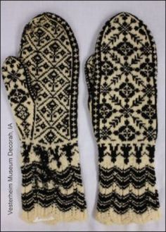 These mittens were in the collection of a first-generation Norwegian American who's family originated in Selbu, an area of Norway famous for its mittens and gloves. Photo used with permission Vesterheim Norwegian American Musuem, Decorah, Iowa. Photo: Kate Larson.