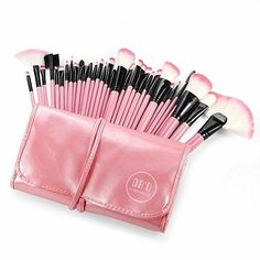 DRQ Professional Makeup Brush Set Pro Studio Pro Makeup Make Up Cosmetic Brush Set Kit w Leather Case For Eye Shadow Blush Concealer Etc Pink -- Find out more about the great product at the image link. Cheap Makeup Brushes Set, Diy Makeup Brush, Makeup Brush Cleaner, How To Clean Makeup Brushes, Makeup Brush Holders, Makeup Blog, Hair Makeup, Makeup Guide, Makeup Set