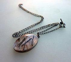 Tourmaline Quartz necklace Statement necklace Oxidized by anakim, $128.00
