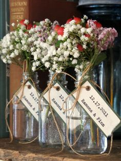 Unique Wedding Favor Bridal Shower Favor - simple, pretty flowers in a clear vase. :)