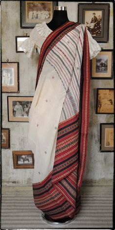 Old Bengal Hand Woven Soft Cotton Sari Pinned by Sujayita