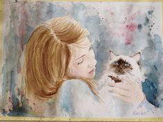 """sorriso di una donna, un dono meraviglioso"" ""Smile a woman, a gift wonderful"" for all women ... every day .. #watercolor #cats #gatti #gatto #love #arte #artist"