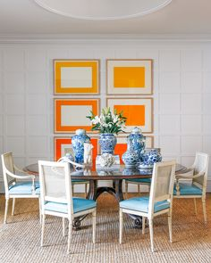 Existing 12' x 12' wall panels were reinstalled to form a geometric backdrop, underscored by the set of six Donald Judd woodcuts purchased through Zlot Buell in San Francisco. The chinoiserie vases are a collection that  designer Greenleaf built over time.