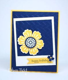 handmade card ... luv the crisp look of navy, yellow and white ... pretty flower from Mixed Bunch ... trendy tilted main panel .. Stampin' Up! ... Stampin' Up!