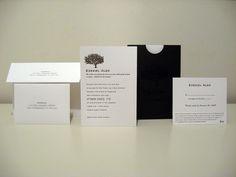 Simple & clean tree invitation Business Invitation, Letterpress Invitations, Oak Tree Wedding, Mailing Envelopes, Wedding Suite, Tree Designs, Wedding Images, Cards Against Humanity, Notes