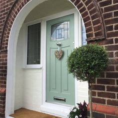 Pretty front door with slight overhang to allow you to shelter from the rain. Front Door Overhang, Front Door Porch, Front Door Entrance, Exterior Front Doors, Glass Front Door, Yellow Front Doors, Front Door Colors, Coral Door, Interior Panel Doors