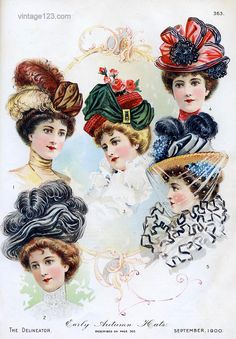 1900 Hats: Oversized and overly decorated with feathers, ribbon, bows, flowers etc. Mainly focused on height of the hat instead of the width during the 1900s.