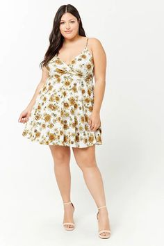 Plus Size Sunflower Print Fit & Flare Dress | Forever21