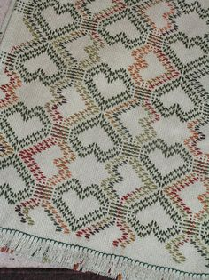 Double Tumbling Hearts Swedish Weave Blanket                                                                                                                                                                                 More