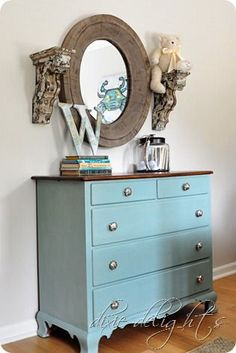 love this dresser color and mirror. painting is Annie Sloan's duck egg blue chalk paint