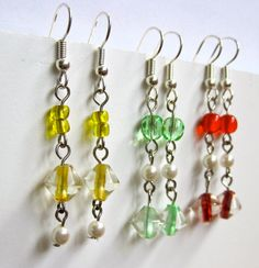 3 Pairs of Beaded Dangle Earrings - Red, Green, and Yellow on Etsy, $21.00