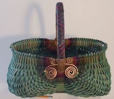 Hand Woven Reed Basket Patterns | Hand woven oval BLUE EGG BASKET, Braided handle, copper bling, beads ...
