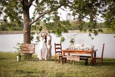 Bohemian Summer Wedding Ideas - picnic table with chairs