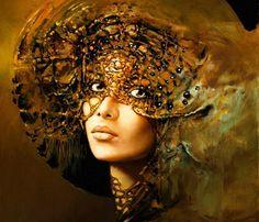 Beautiful Art Paintings | Beautiful People Amber Art Face Karol Bak Painting with 1398x1200px ...