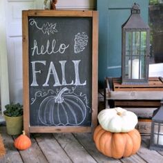 Cottage Christmas Front Porch Ideas - Cottage in the Oaks Sharing great ideas and inspiration for your Christmas front porch from our home and eight other amazing homes! No matter your style…. Large Wood Letters, Fall Chalkboard, Kitchen Chalkboard, Cottage Christmas, Christmas Farm, Welcome Fall, Diy Signs, Autumn Theme, Porch Decorating