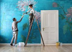 ...well...it's not wallpaper - it's hand painted walls! ...atelier