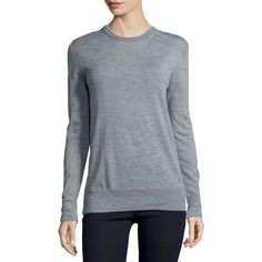 rag & bone/JEAN Leanna Long-Sleeve Boyfriend Sweater ($210) ❤ liked on Polyvore featuring tops, sweaters, med gry, gray top, pullover sweater, grey sweater, grey top and round neck sweater