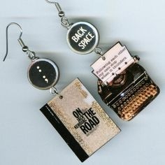 Jack Kerouac Earrings  ON THE ROAD Cat Haiku Typewriter. $16.00, via Etsy.