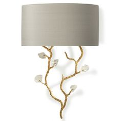 TWL68 TRAILING BLOSSOM WALL SCONCE WITH GLASS - WHITE GOLD