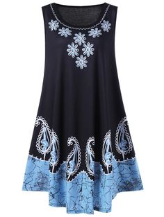 $9.97Plus Size Floral and Paisley Sleeveless Dress in Black And Blue   Sammydress.com