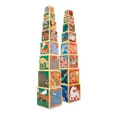 Animal or Alphabet Nesting Blocks by Melissa and Doug.  We have the Animal Set and they are so beautifully illutrated!