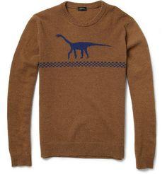 JIL SANDER : Dinosaur Intarsia Camel and Wool-Blend Sweater | Sumally