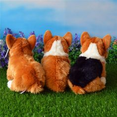"""Welsh Corgi Plush Toy, butts, These plush Welsh Corgi stuffed animals are simply adorable!  Approximately 12″ length by 10″ high, these adorable little Corgis come in three color options: an all tan back, tan with a white """"fairy saddle"""" on his back, and tri-color. Z"""