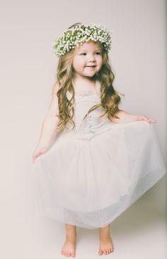 Evangeline Flower Girl Dress in White