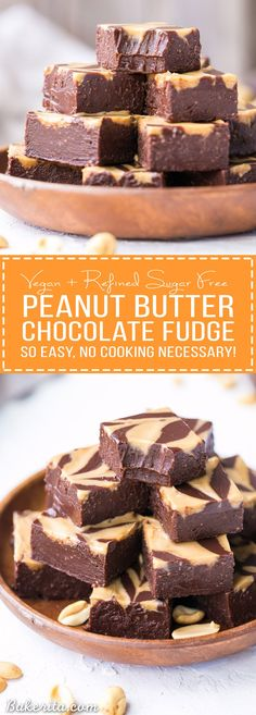 This Easy Chocolate Peanut Butter Fudge is made with just four wholesome ingredients! This refined sugar free and vegan fudge is incredibly smooth, creamy, and melts in your mouth.